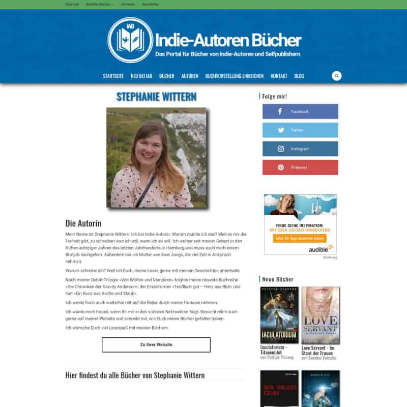 Screenshot meiner Autorenseite auf Indie-Autoren Bücher